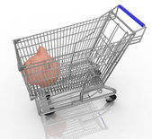 Save money shopping concept with piggy bank in a shopping cart — Stock Photo