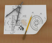 Band, pencil and compasses — Stock fotografie