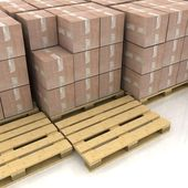 Cardboard boxes on wooden pallets — Stock Photo