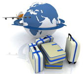 Luggage for a round-world voyage — Stock Photo