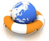 The globe and lifebuoy ring — Stock Photo