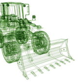3d model bulldozer — Stock Photo