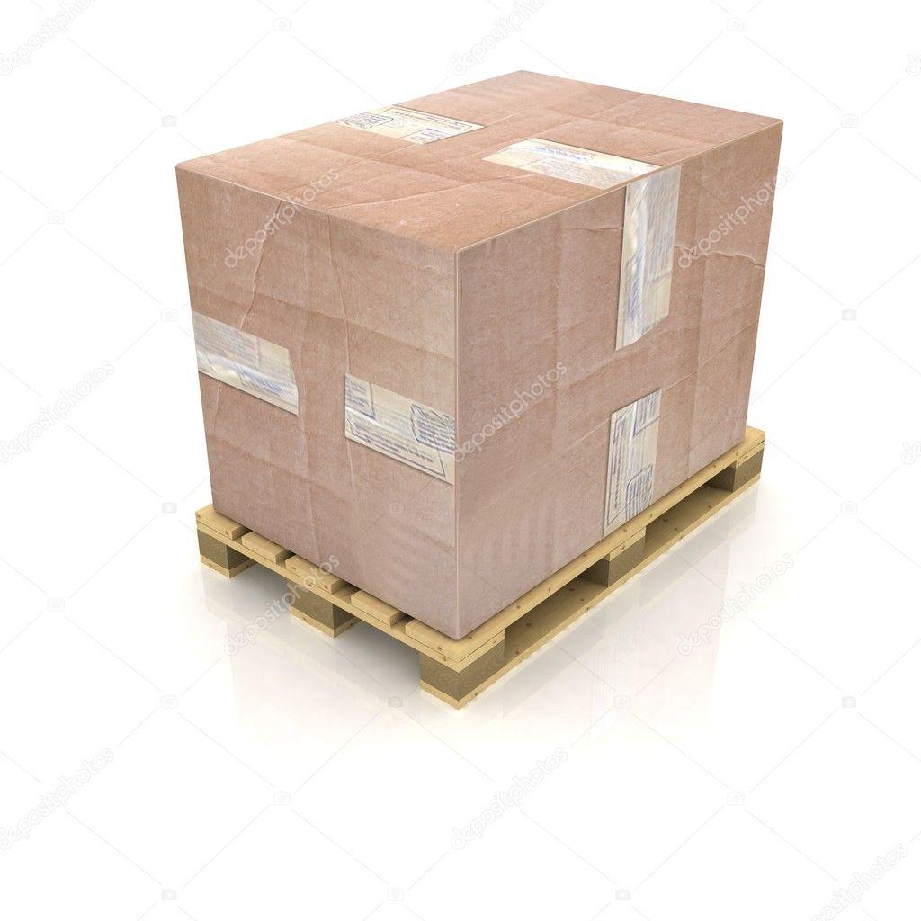 Caixa de papelão palete de madeira — Fotografias de Stock © 3DDock  #8E623D 1024x1024