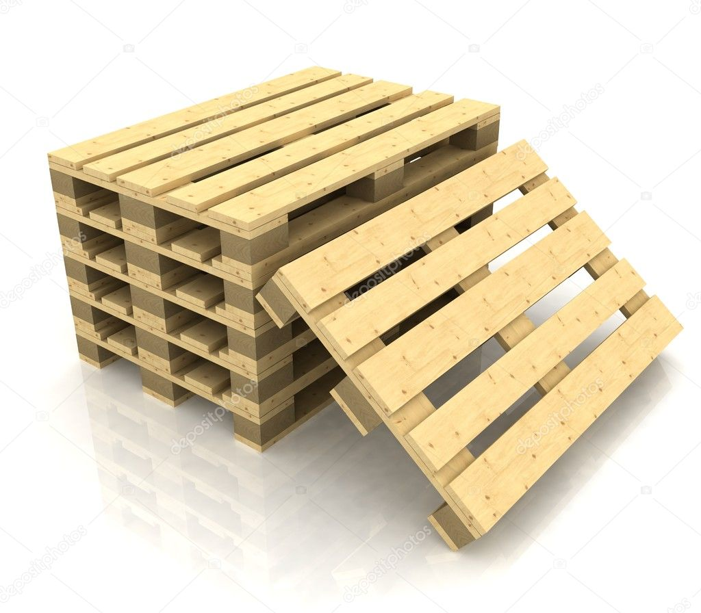 Wooden pallets on the white background — Stock Photo #8376452