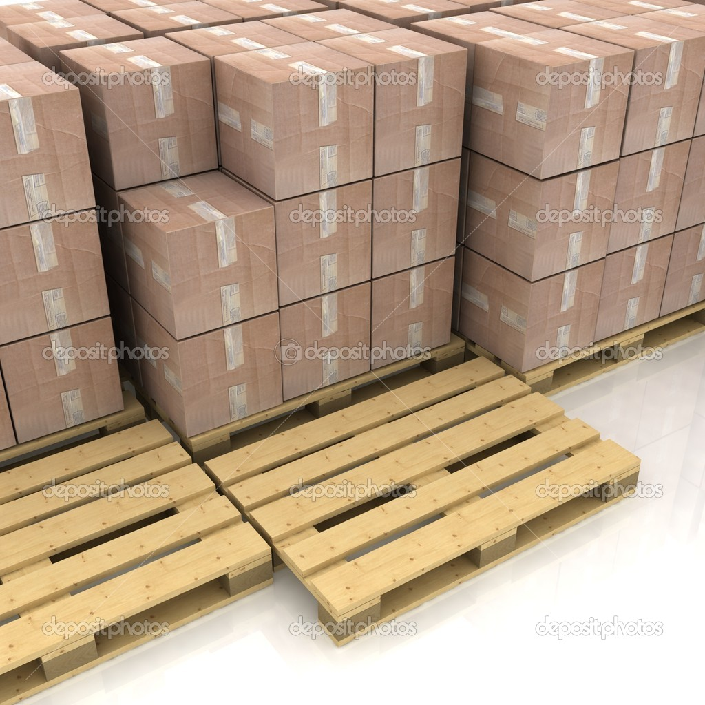 Cardboard boxes on wooden pallets — Stock Photo #8379162