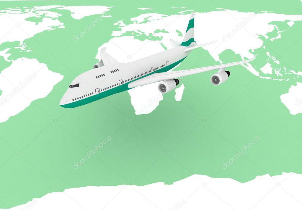 背景的世界地图上飞行的飞机