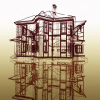 Project of new dwelling-house — Stock Photo