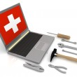 The laptop with the complete set of tools for repair — Stock Photo