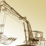 3d model excavator — Stock Photo