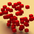 3d flying colored abstract cubes -  