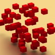 3d flying colored abstract cubes - Stockfoto