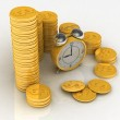Time is money concept with clock and coins — Stock Photo
