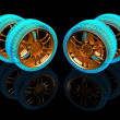Foto Stock: New wheels isolated on black. 3d illustration