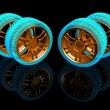 Stockfoto: New wheels isolated on black. 3d illustration