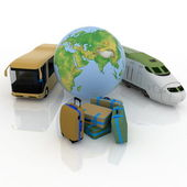 Types of above-ground passenger transport and globe — Stock Photo