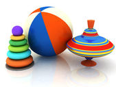 Child's toys pyramid, top, ball — Stock Photo