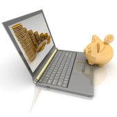 Piggy bank and laptop — Stock Photo