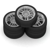 New wheels on white background — Stock Photo