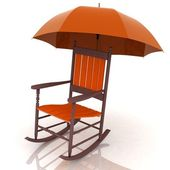 Old rocking chair with an umbrella isolated on white background — Stock Photo
