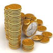 El tiempo es dinero concepto con reloj y monedas — Foto de Stock