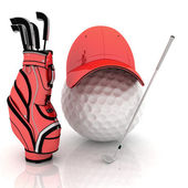 Belonging for playing golf on a white background — Stock Photo