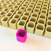 Abstract yellow blocks with a contrasting pink block — Stock Photo