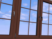 Sky seen through an wooden window — Stock Photo