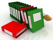 3D illustration of image of folders and folder with a secret — Stock Photo
