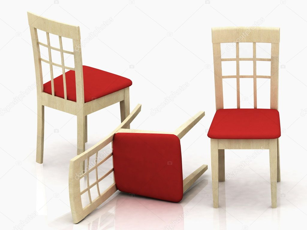 Three wooden classic chairs — Stock Photo #8391306