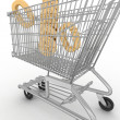 Cart for shop with a symbol percent on a white background — Stock Photo