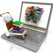 Stock Photo: Laptop with light cart loaded with books