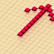 Red balls  forming an arrow on a background gold cubes — Стоковая фотография