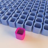 Abstract blue blocks with a contrasting pink block — Stock Photo