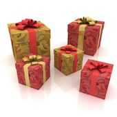 Beautiful gift boxes on a white background — Stock Photo