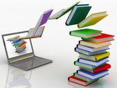 书飞进您的便携式计算机 — 图库照片