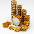 Time is money concept with clock and coins — Stock Photo #8468461