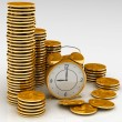 Time is money concept with clock and coins — Stockfoto
