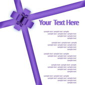 Greeting card with a violet ribbon — Stock Photo