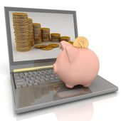 Piggy bank laptop — Stockfoto