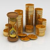 Klepsydra i monety — Zdjęcie stockowe