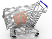 Piggy bank in a shopping cart — Stock Photo
