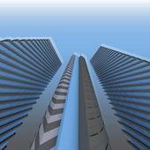 3d skyscrapers — Stock Photo
