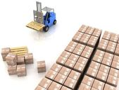 Loader in warehouse with pallet — Stock Photo