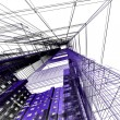Abstract architectural 3D construction — Stock Photo