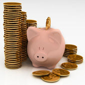 Gold chinks with piggy bank — Stock Photo