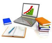 Laptop, książki i inne narzędzia do pracy — Zdjęcie stockowe