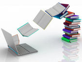Books fly into your laptop — Stockfoto