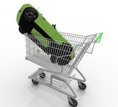 Cart from a supermarket with a gift — Stock Photo