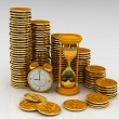 Clock, hourglass and coins — Stockfoto