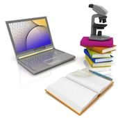 Laptop, microscope and books — Stock Photo